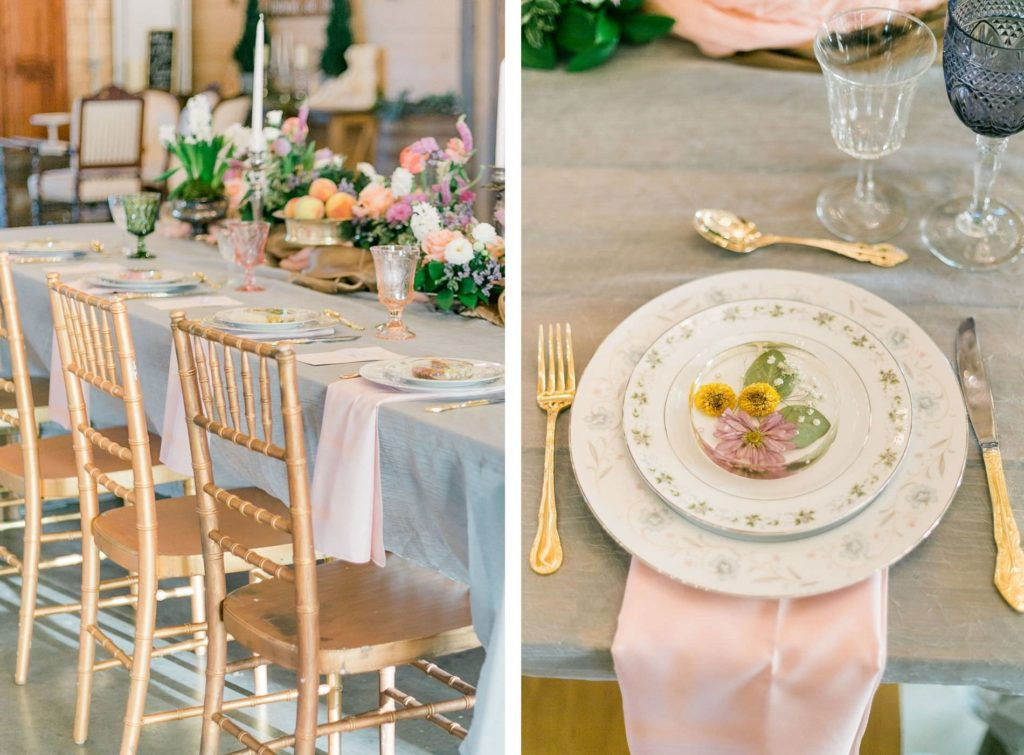 Floral and Vintage Wedding Plating   White with Gold with Gold Wedding Chairs   Wedding Place Settings