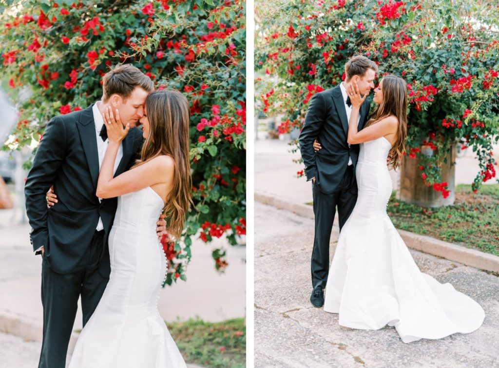 Romantic Bride and Groom Wedding Photo in Front of Red Flower Bush | Tampa Bay Wedding Photographer Kera Photography | Wedding Hair and Makeup Femme Akoi Beauty Studio