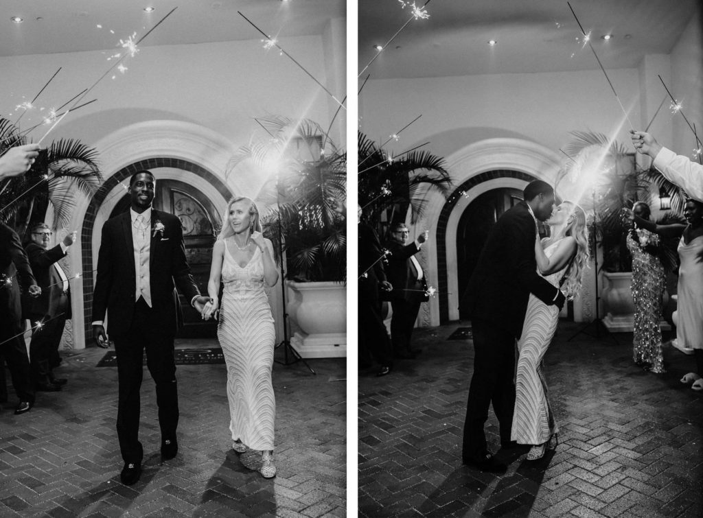 Black and White Timeless Elegant Bride and Groom Sparkler Exit   Tampa Bay Westshore Yacht Club