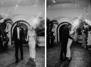 Black and White Timeless Elegant Bride and Groom Sparkler Exit | Tampa Bay Westshore Yacht Club