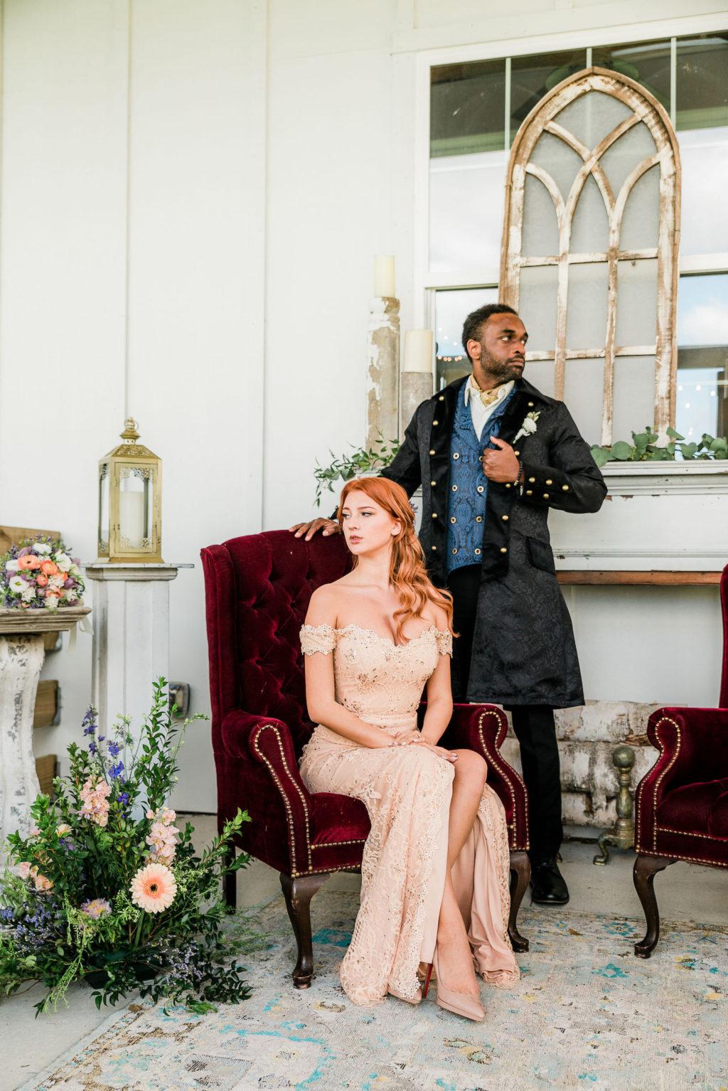 Bridgerton Inspired Wedding   Bride and Groom Portrait   Covington Farms Tampa Wedding Venue