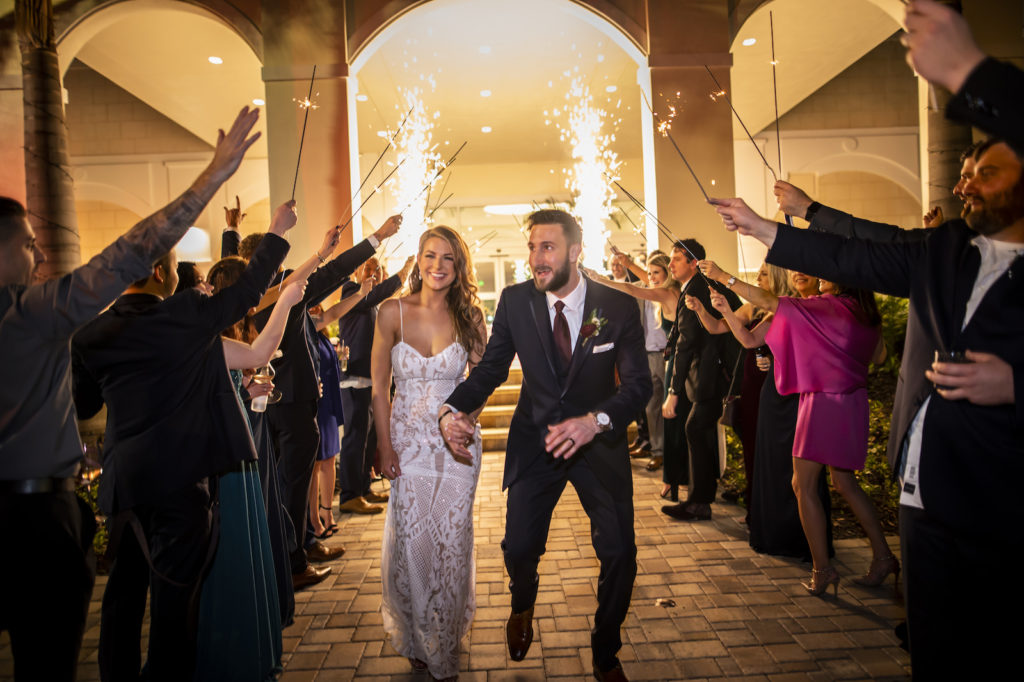 Cold Sparkler Fireworks Exit Wedding Portrait   Tampa Bay Special Effects Spark Weddings