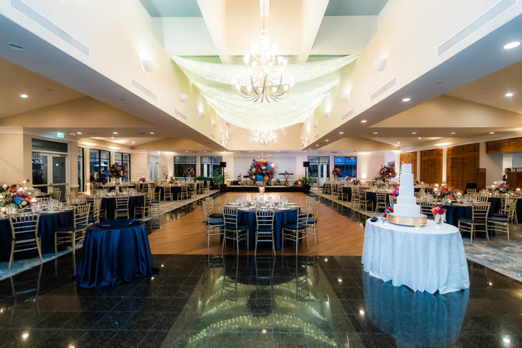 Elegant Ballroom Wedding Reception Decor, Linen Drapery on Ceiling with String Lights, Navy Blue Linens | Tampa Wedding Venue The Resort at Longboat Key Club