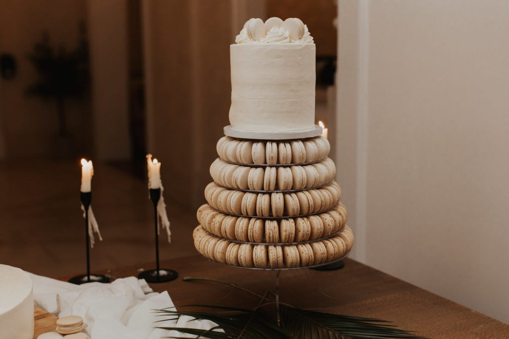 Unique One Tier White Wedding Cake with Five Macaroon Cookie Tiers