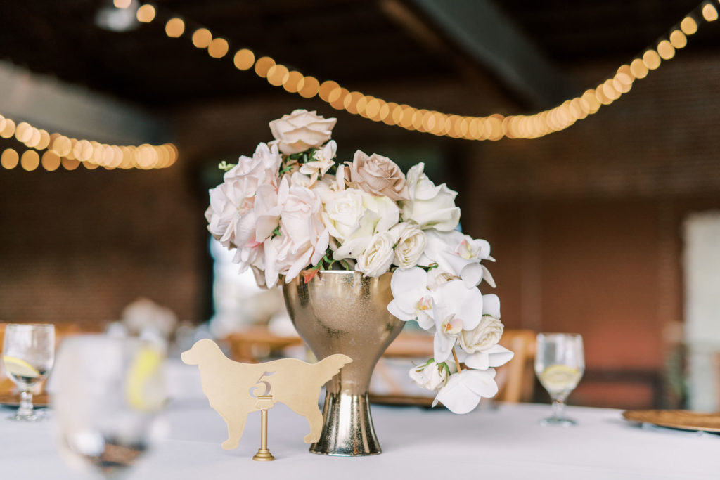 Classic Wedding Reception Decor, Low Blush Pink and White Orchid Floral Centerpiece, Golden Retriever Laser Cut Table Number Sign | Tampa Bay Wedding Photographer Kera Photography | Wedding Rentals Gabro Event Services