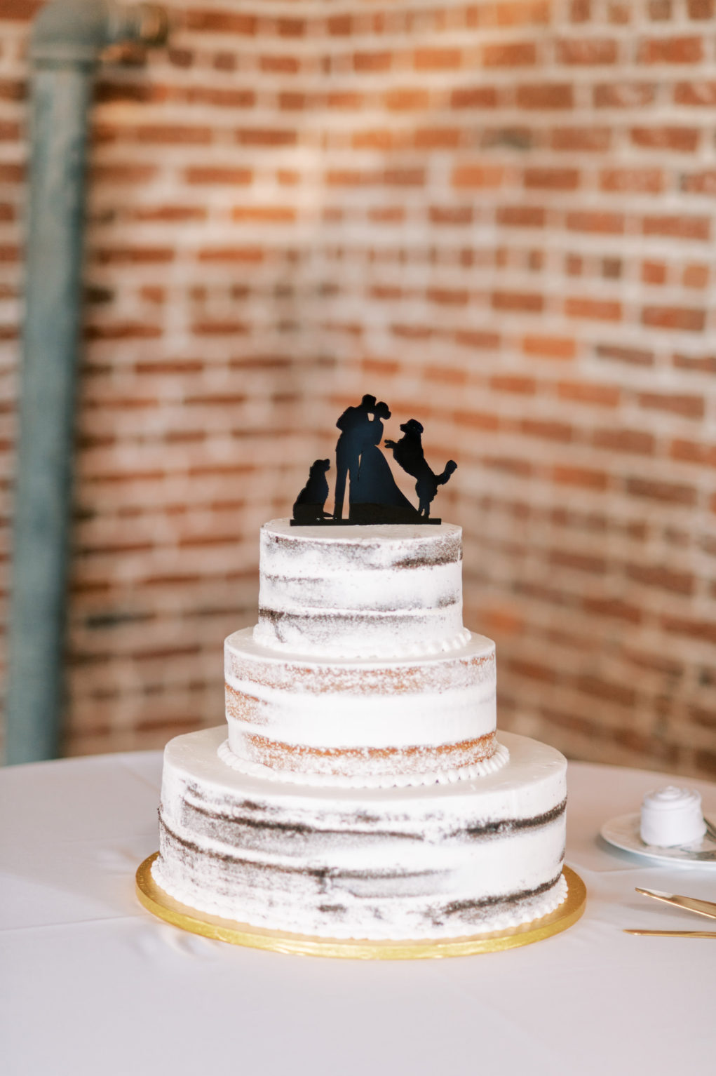 Three Tier Simple Semi Naked Wedding Cake with Black Silhouette Bride, Groom and Golden Retrievers Cake Topper | Tampa Bay Wedding Photographer Kera Photography