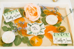 Elegant and Simple Wedding Desserts   Frosted Wedding Cookies with Initials on Them