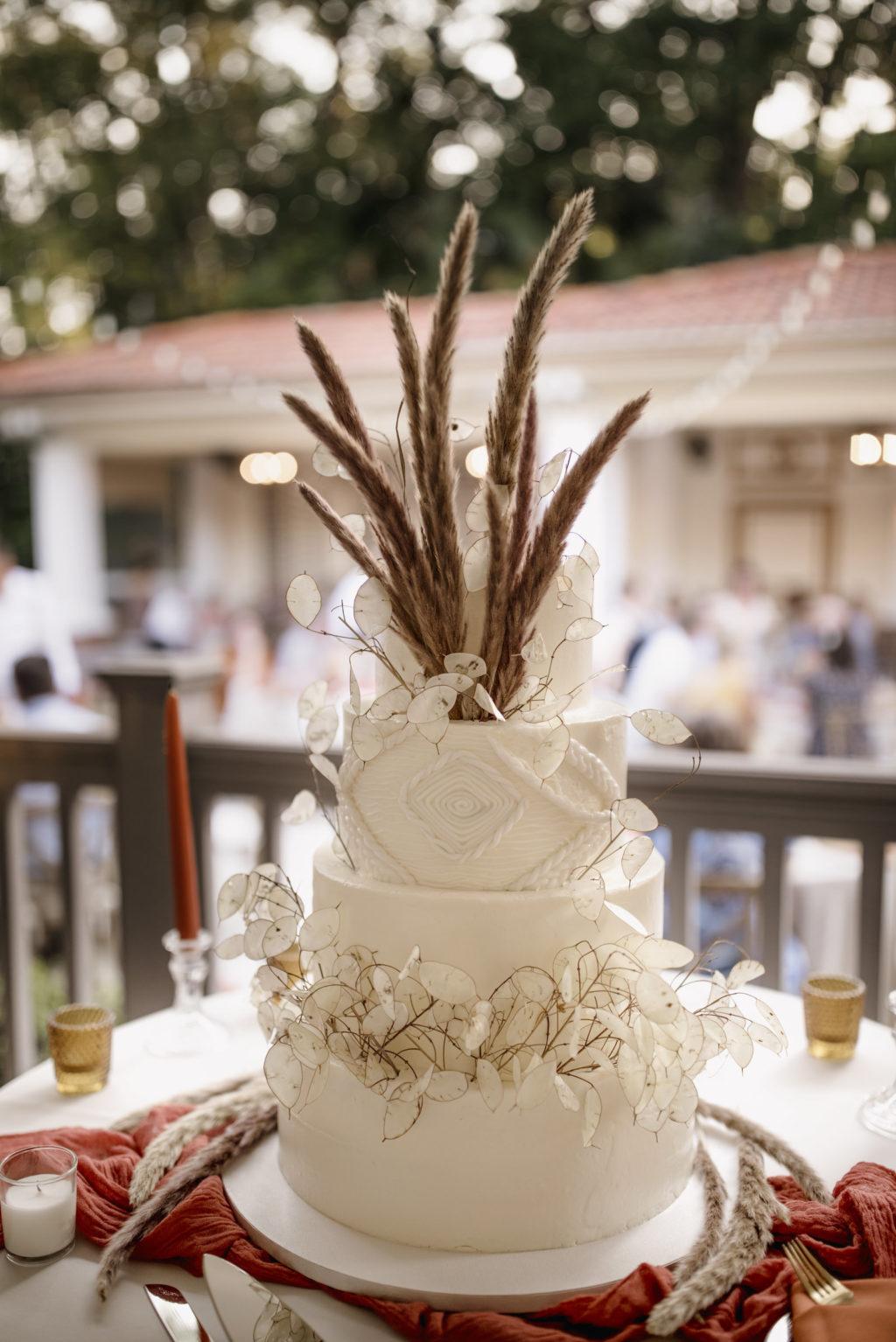 Three Tiered Round Wedding Cake with Intricate Natural Pampas Grass Detailing   Boho Wedding Cake Topper