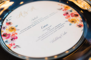 Elegant Wedding Reception Decor, Navy Blue Table Linens, Clear and Gold Beaded Chargers, Round Custom Floral Menus