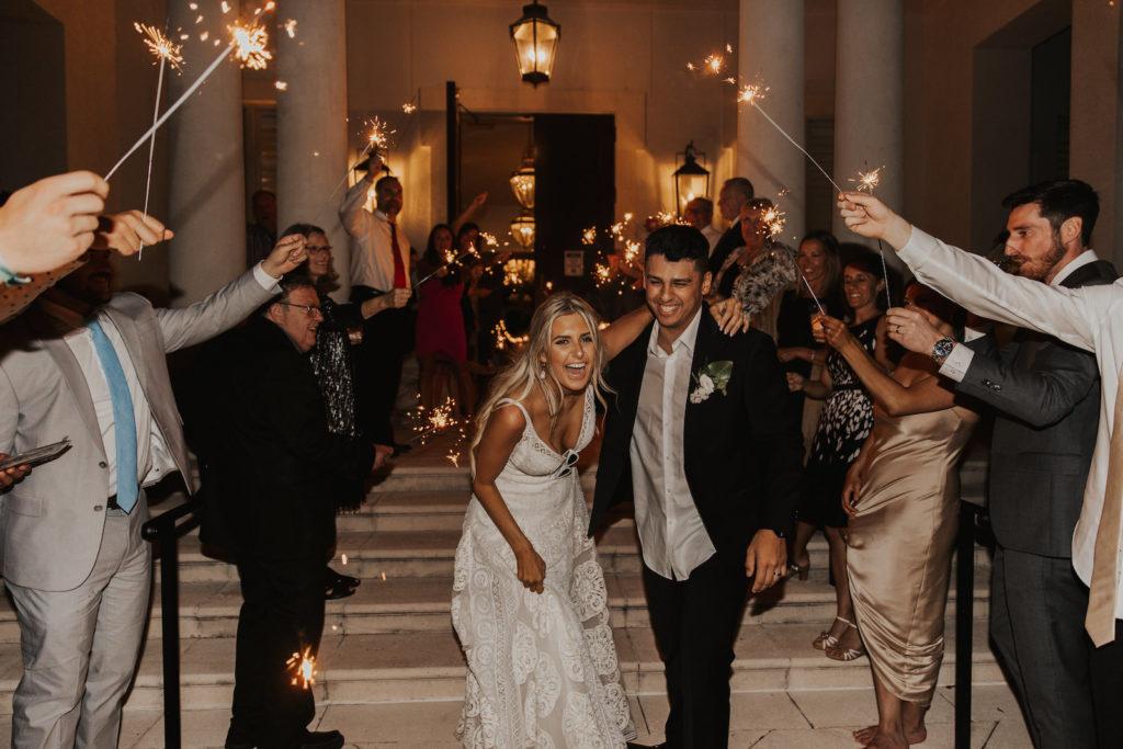 Timeless Bride and Groom Sparkler Wedding Reception Exit