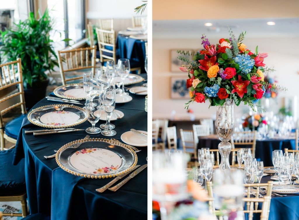 Elegant Ballroom Wedding Reception Decor, Gold Chiavari Chairs, Round Tables with Navy Blue Table Linens, Jewel Tone Tall Floral Centerpieces, Blue, Pink, Red, Orange Flowers | Tampa Wedding Venue The Resort at Longboat Key Club
