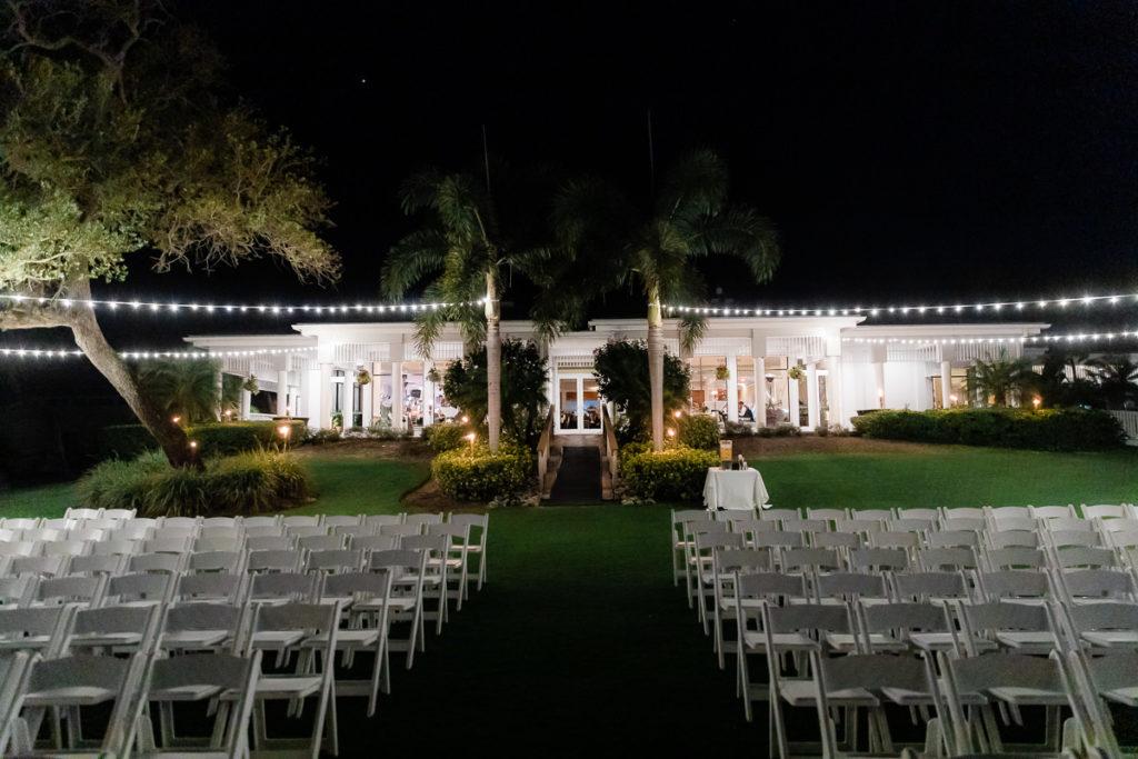 Outdoor Nighttime Garden Wedding Venue with String Lights | Tampa Bay Wedding Venue The Resort at Longboat Key Club