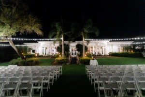 Outdoor Nighttime Garden Wedding Venue with String Lights   Tampa Bay Wedding Venue The Resort at Longboat Key Club
