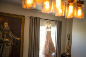 Lace and Illusion Tulle Blush Skirt Wedding Dress