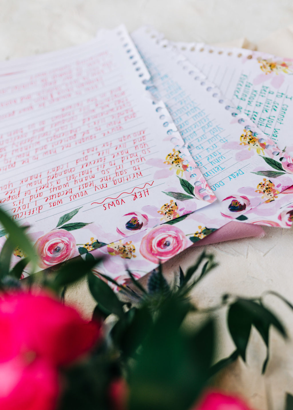 Wedding Day Written Vows | Couples Weeding Vows Written on Paper in Colorful Ink