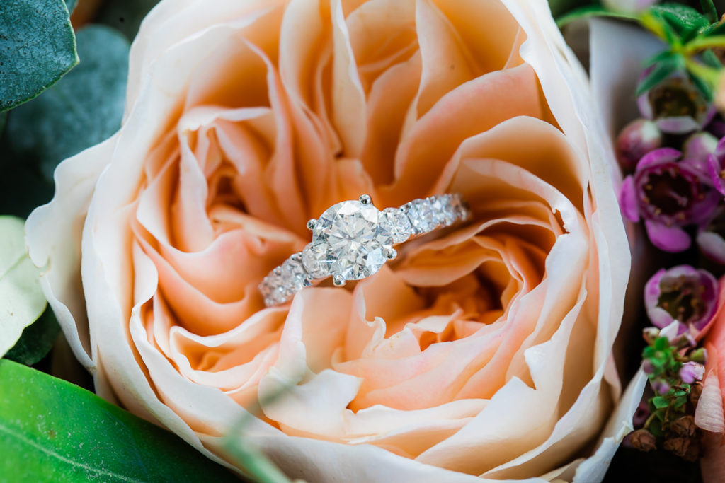 Round Solitaire Diamond Band Engagement Ring in Blush Pink Rose