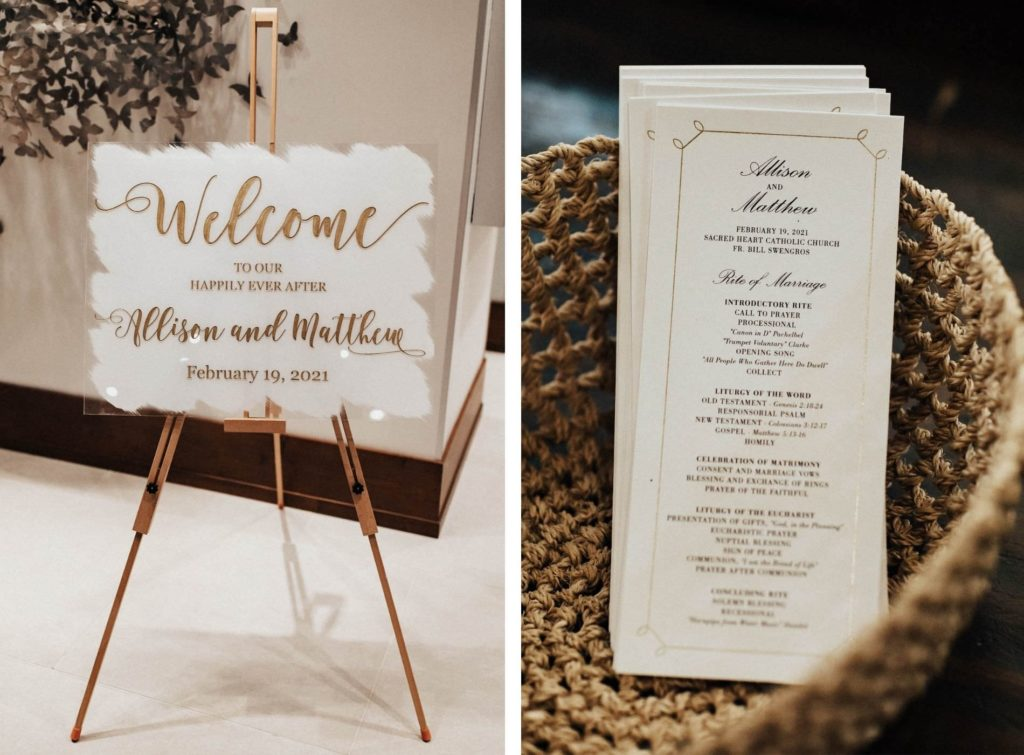 Handwritten Wedding Welcome Sign with Gold Lettering