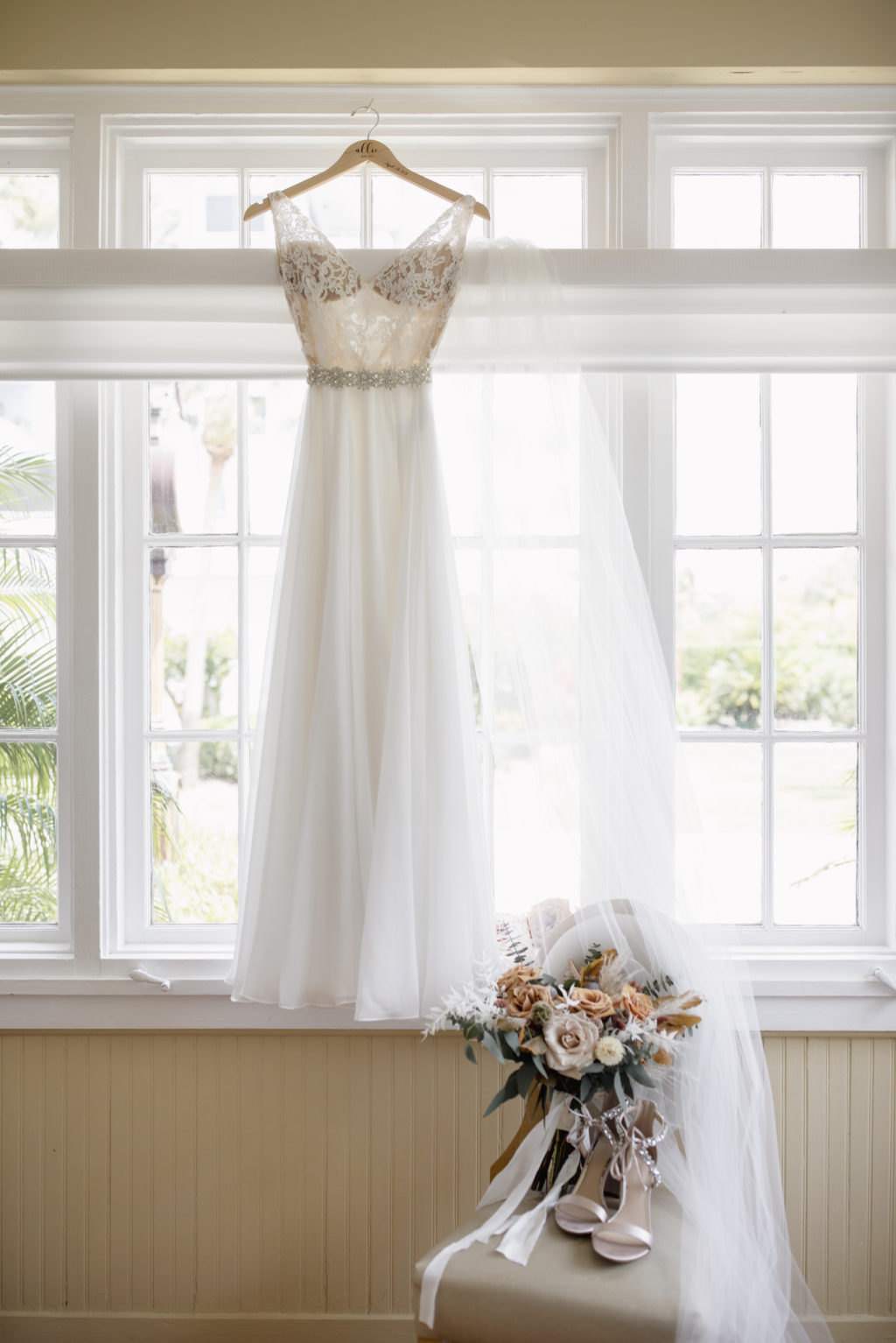 Lace Illusion Wedding Dress with Beaded Belt Detail and Flowy Train   Paloma Blanca, Overskirt Hayley Paige