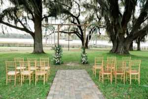 Tampa Farm Wedding Venue   Gold Wedding Ceremony Chairs   Covington Farm