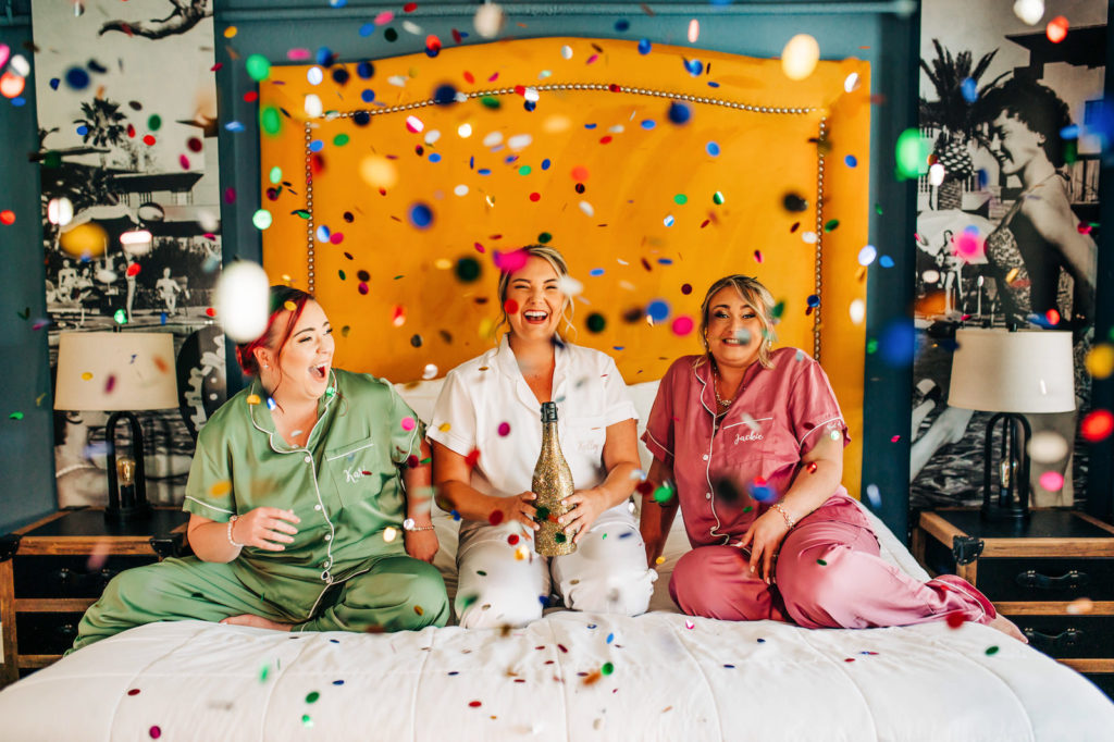 Confetti Wedding Portrait with Bride and Bridesmaids | Day of Wedding Photo Ideas