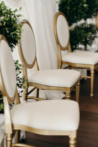 Timeless Elegant White and Gold Dining Chairs