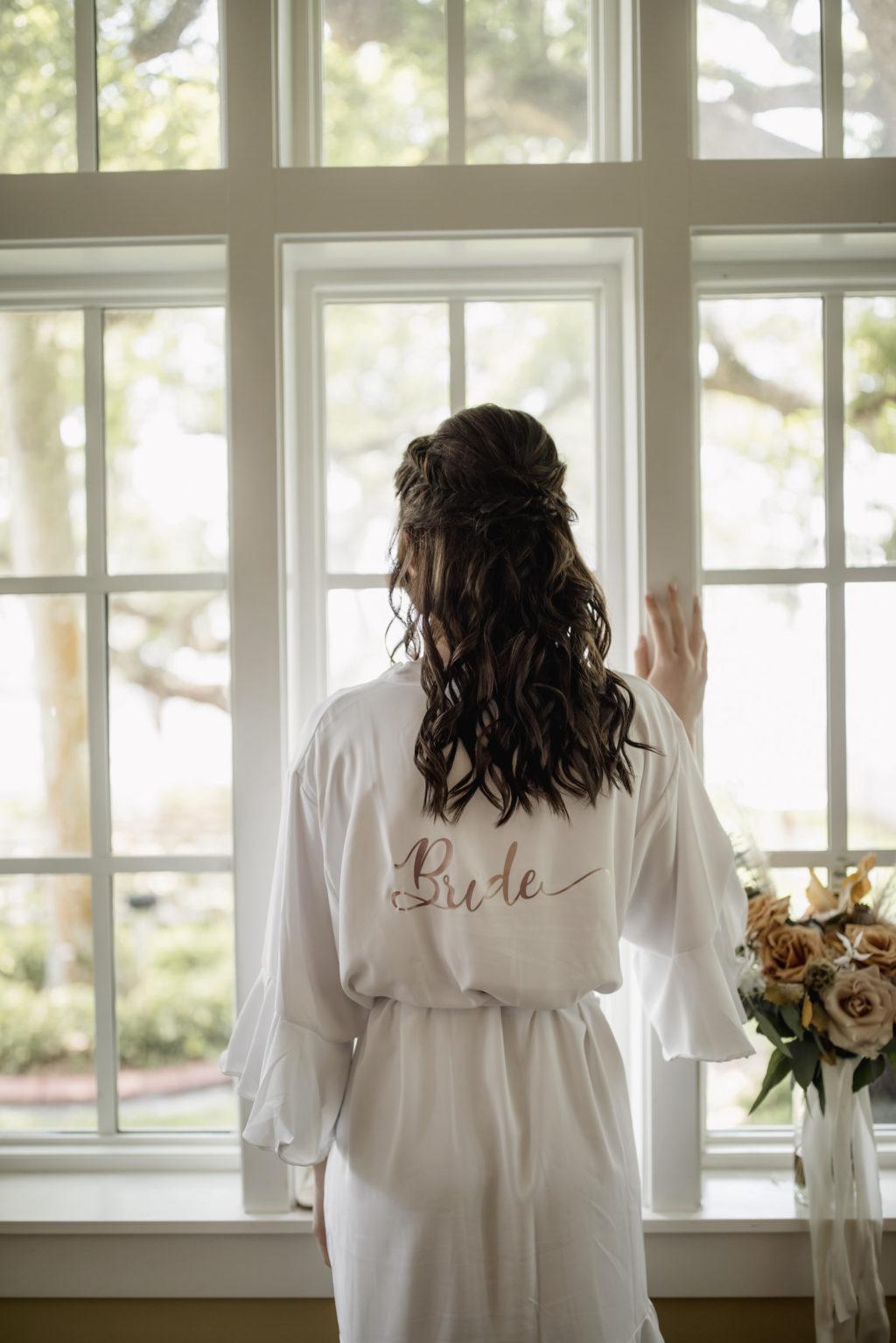 White Satin Short Bride Robe   Bride Getting Ready on Wedding Day