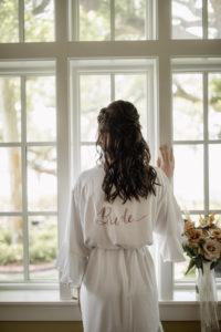 White Satin Short Bride Robe | Bride Getting Ready on Wedding Day