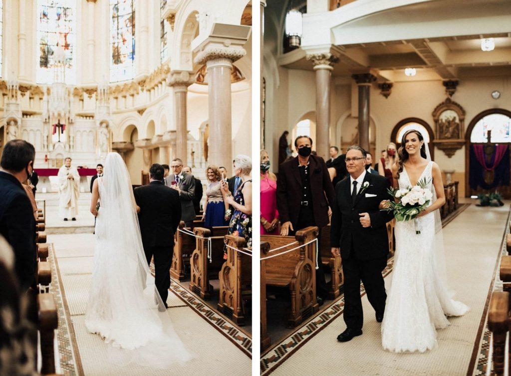 Father Walking Daughter Down the Wedding Ceremony Aisle | Downtown Tampa Wedding Ceremony Venue Sacred Heart Catholic Church