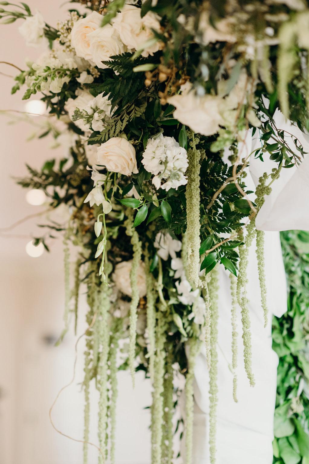 Elegant and Timeless Wedding Decor, White Roses, Greenery, Hanging Amaranthus