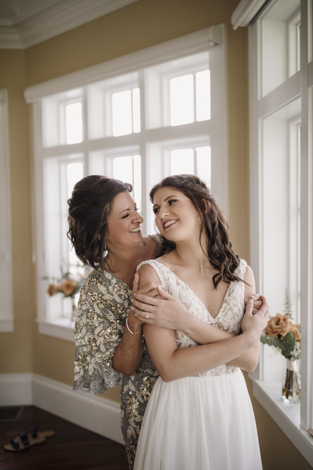 Mother of the Bride in Sparkly Dress   Helping Florida Bride Get Ready for Wedding Ceremony Portrait