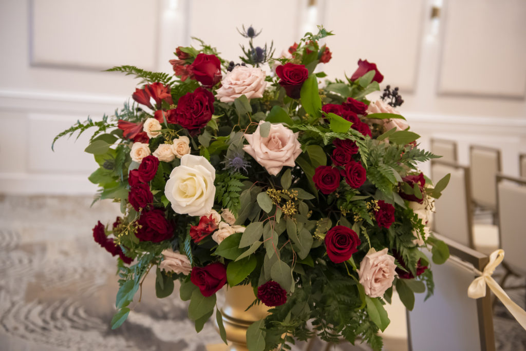 Romantic Floral Bouquet, Blush Pink and Burgundy Roses, Greenery   Tampa Bay Wedding Planner Coastal Coordinating
