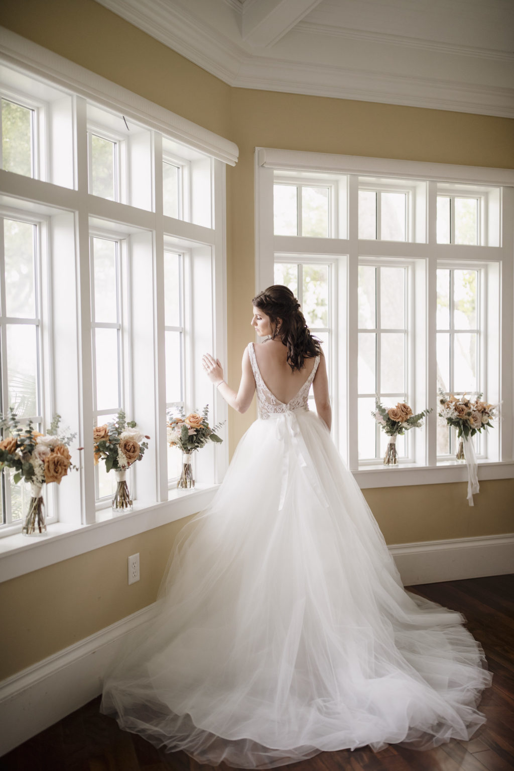 Low Back Lace Detail Ballgown Wedding Dress   Florida Bride in her Dress Before the Wedding Portrait   Paloma Blanca, Overskirt: Hayley Paige   Sarasota Wedding Photographer Alisa Sue Photography