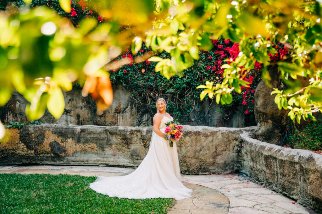 Bridal Portrait with Bright Pink and Yellow Bouquet | Morilee by Madeline Gardner