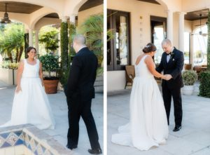 Tampa Bride and Groom First Look Wedding Photo   The Resort at Longboat Key Club