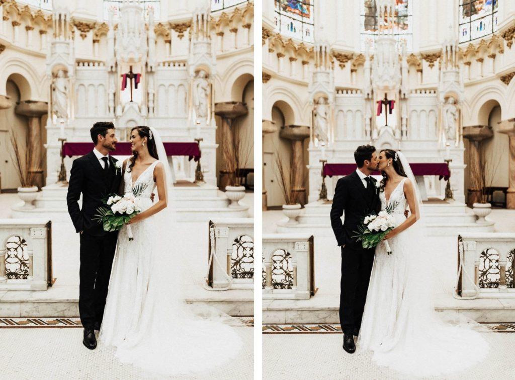 Bride and Groom First Kiss Wedding Portrait | Tampa Wedding Ceremony Venue Sacred Heart Catholic Church