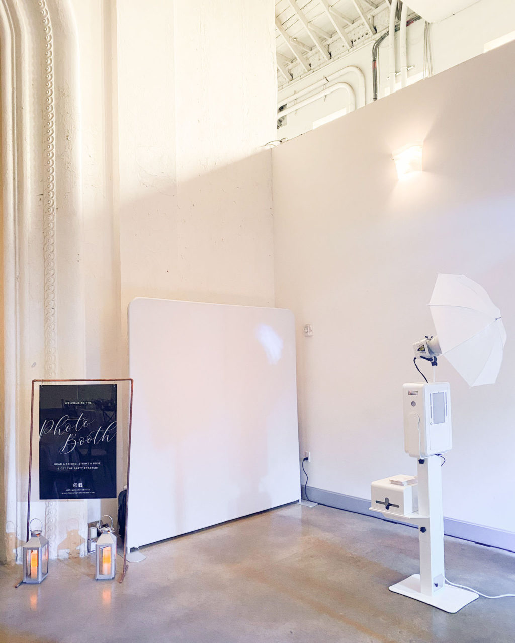 Modern Open Air Photo Booth with White Backdrop Wall  | Tampa Bay Luxury Rental Gala Photo Booth