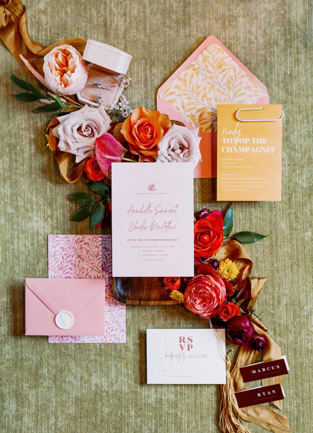 Whimsical Colorful Pink and Orange Wedding Invitation Suite   Tampa Bay Wedding Photographer Dewitt for Love