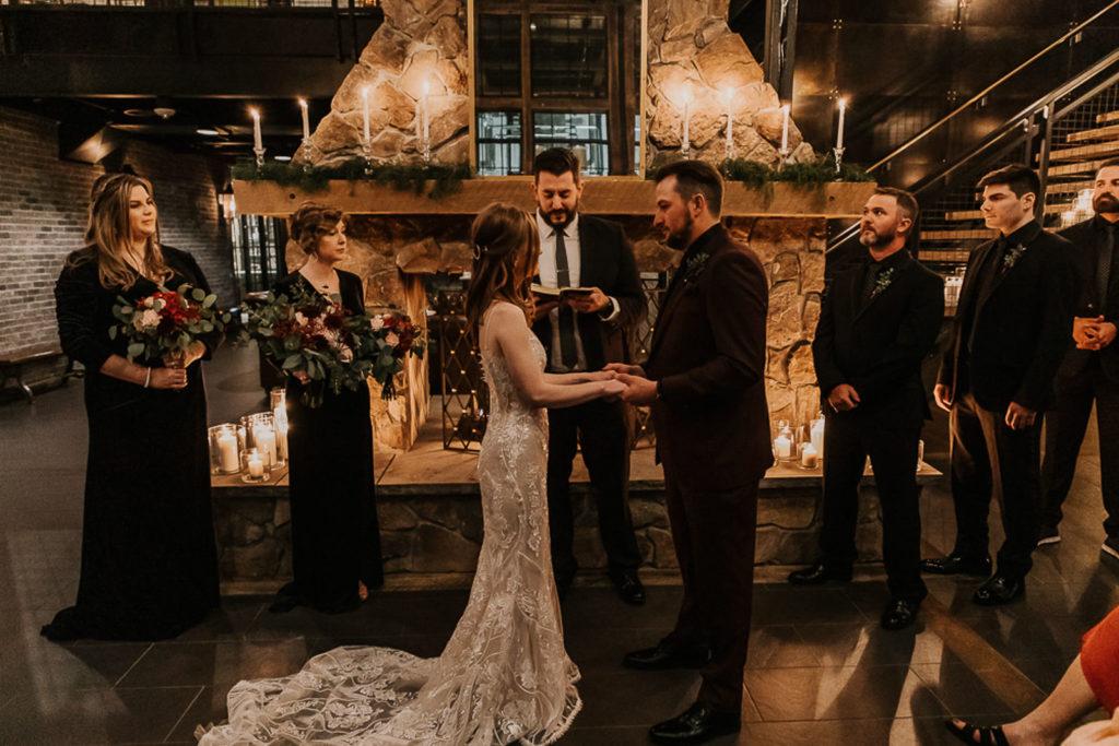 Bride and Groom Exchange Vows | Unique Tampa Bay Wedding Ceremony | Venue Urban Stillhouse