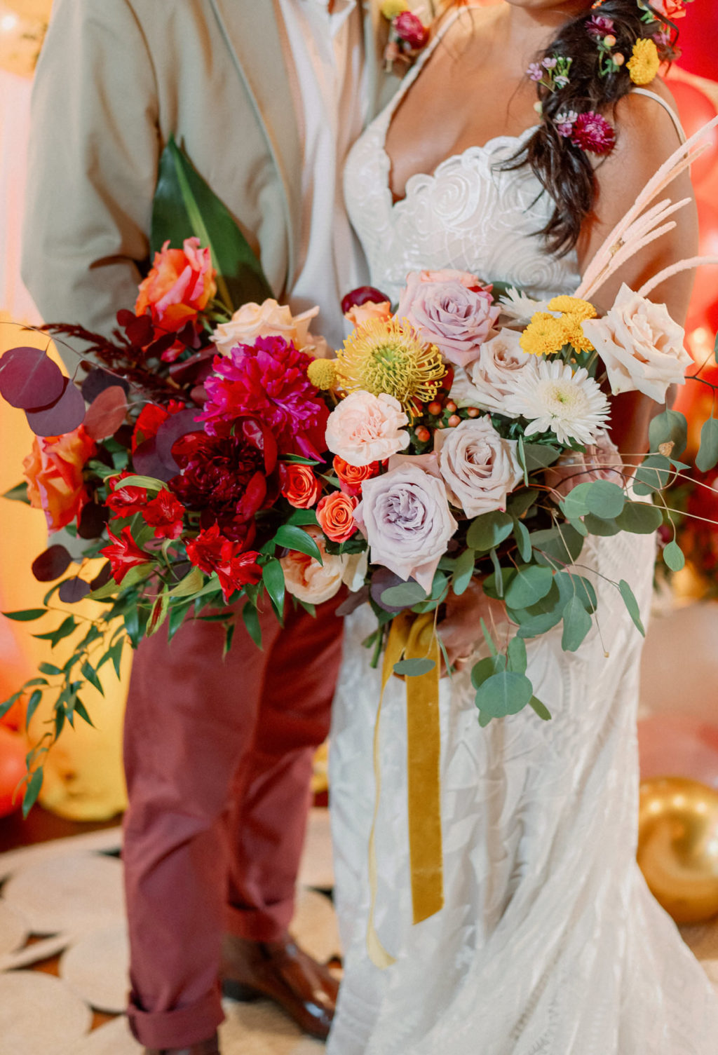 Whimsical and Colorful Bridal Bouquet, Lilac and Blush Pink Roses, Eucalyptus, Yellow Pin Cushion Protea, Red Eucalyptus, Red Flowers and Greenery   Tampa Bay Wedding Photographer Dewitt for Love