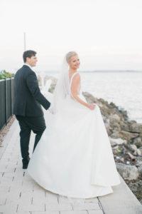 Bride and Groom Veil Shot Wedding Portrait   Bride in BHLDN Illusion Back Wedding Dress Ballgown   South Tampa Wedding Photos