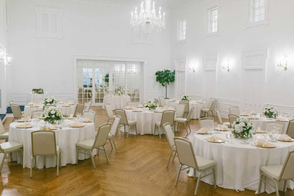 Classic and Elegant Wedding Reception with White Linens and Crystal Chandelier | South Tampa Wedding Reception Venue Tampa Yacht & Country Club