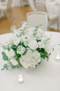 Low White Roses and Greenery Centerpieces   South Tampa Wedding Florist FH Events