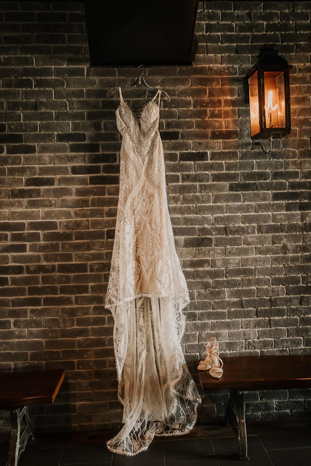 Vintage Inspired Lace Spaghetti Strap Wedding Dress | Off White Fitted Detail Plunge Neckline | Chic Nostalgia