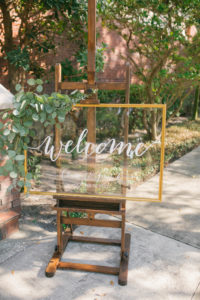 Elegant Gold and Glass Welcome Wedding Ceremony Sign   Cursive White Written Detail   Wedding Ceremony Décor