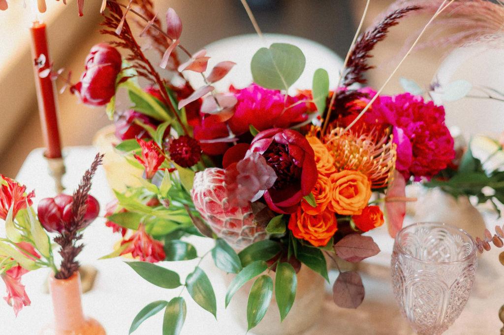 Colorful Whimsical Wedding Reception Floral Decor, Fuschia Flowers, Orange Roses, Greenery Leaves, Yellow Pincushion Protea, Pink King Protea, Eucalyptus   Tampa Bay Wedding Photographer Dewitt for Love