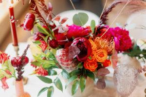 Colorful Whimsical Wedding Reception Floral Decor, Fuschia Flowers, Orange Roses, Greenery Leaves, Yellow Pincushion Protea, Pink King Protea, Eucalyptus | Tampa Bay Wedding Photographer Dewitt for Love