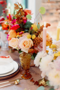 Whimsical and Colorful Wedding Reception Decor, Yellow Tall Candlesticks, Pink, Yellow and Orange Low Floral Centerpiece, Gold Flatware, Yellow Napkin Linen, Wooden Place Card, Vintage Glassware | Tampa Bay Wedding Photographer Dewitt for Love | Linen Rentals Kate Ryan Event Rentals
