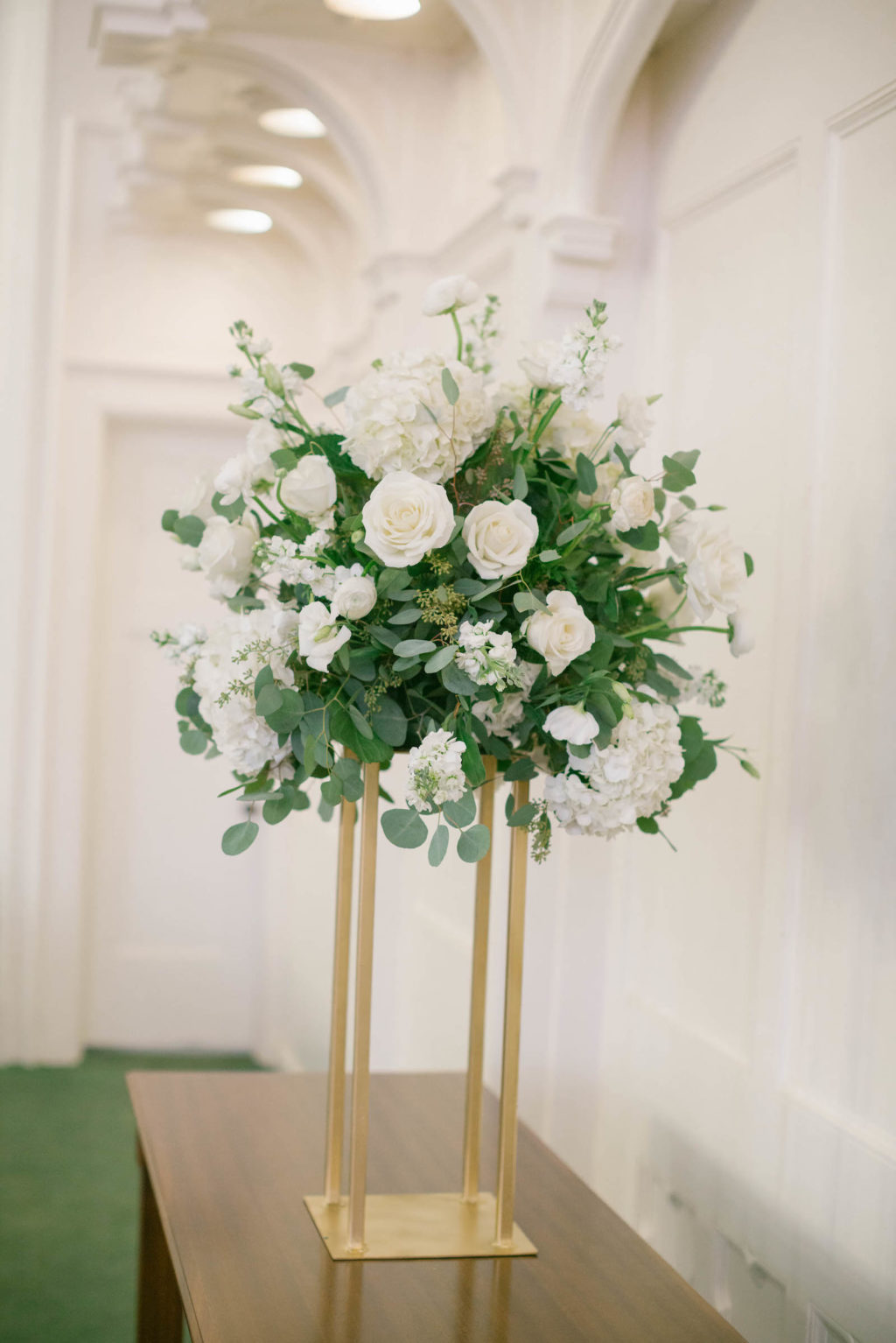 White Roses with Greenery Wedding Centerpieces | Gold Tall Floral Stand for Wedding Centerpieces | Tampa Wedding Florist FH Events
