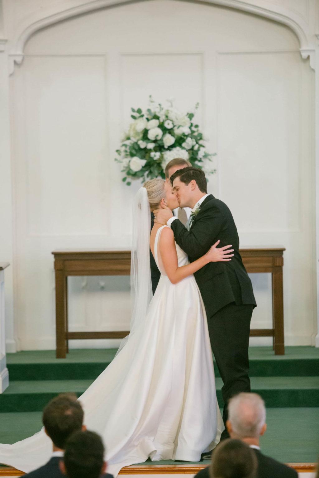 Bride and Groom First Kiss at the Altar | South Tampa Holy Trinity Presbyterian Church Wedding Ceremony