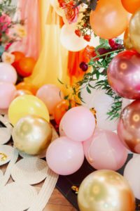 Whimsical and Colorful Wedding Decor, Pink, Rose Gold, Yellow Gold, Yellow, Orange Balloon Ceremony Backdrop | Tampa Bay Wedding Photographer Dewitt for Love
